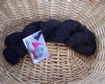 Merino mohair silk yarn, Chunky 2 ply Merino, Bulky handspun black wool, Sparkly wool yarn, Merino sparkle yarn