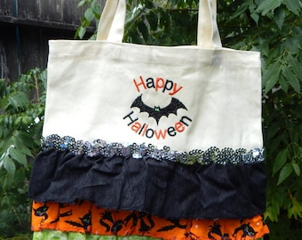 "Ruffled ""Happy Halloween"" embroidered Halloween Bag"