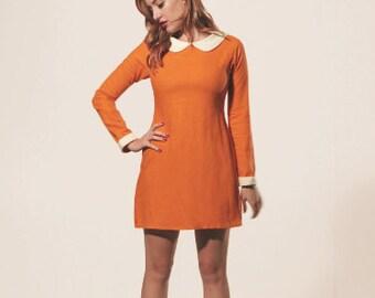 Orange Mod Dress, with White Peter Pan Collar, Orange Shift Dress, 1960's Vintage shift