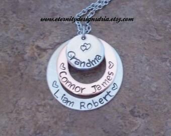 Personalized Grandma Mom Necklace,Children's Name Necklace, Mom/Grandma Jewelry