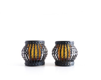 Vintage Amber Glass and Wavy Black Metal Votive Candle Holders, Halloween Decor