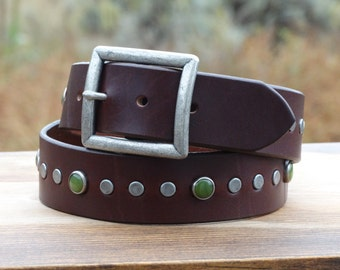 "Custom leather belt womens, Brown leather belt, wide leather belt, gemstones and studs, 1.5"" wide with antique buckle"