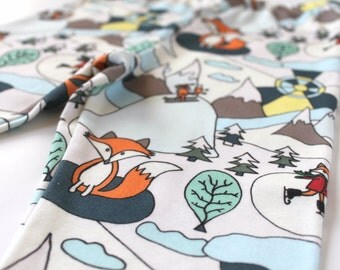 Kids clothes with foxes • Whimsical toddler leggings • ORGANIC Baby pants • Woodland print leggings • Gender neutral baby jersey pants