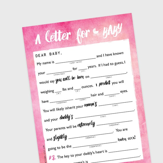 Baby Shower mad-lib game // A Letter to BABY //  pink watercolor ombre