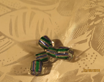 Cane Glass Beads Blue,Green