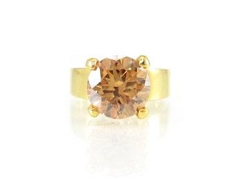 Vintage Light Orange Rhinestone Ring, Gold Tone, Size 7