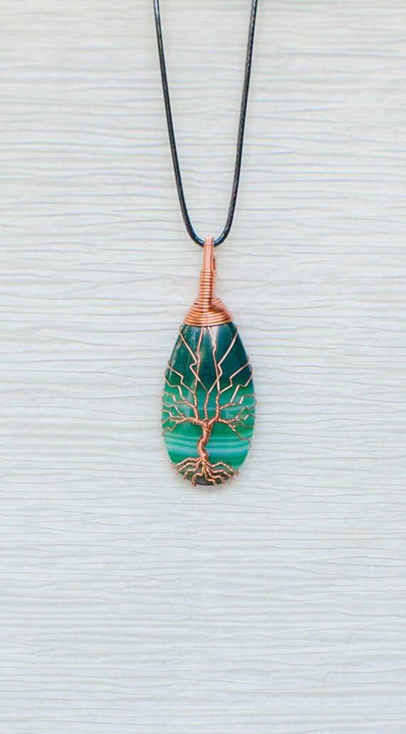 Tree of Life wire wrapped Green Agate stone pendant