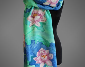 Hand painted WOOL scarf with water lilies. Fall scarf. Floral scarf. Mint green and blue scarf.  Designer wool scarf. Ready to ship.