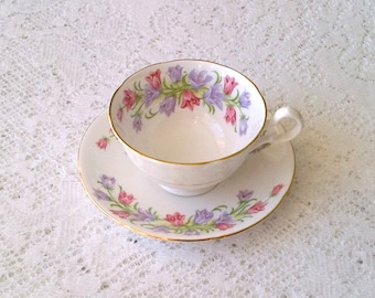 Vintage Pink & Purple Floral Wide Mouth Bone China Tea Cup and Saucer - Made in England