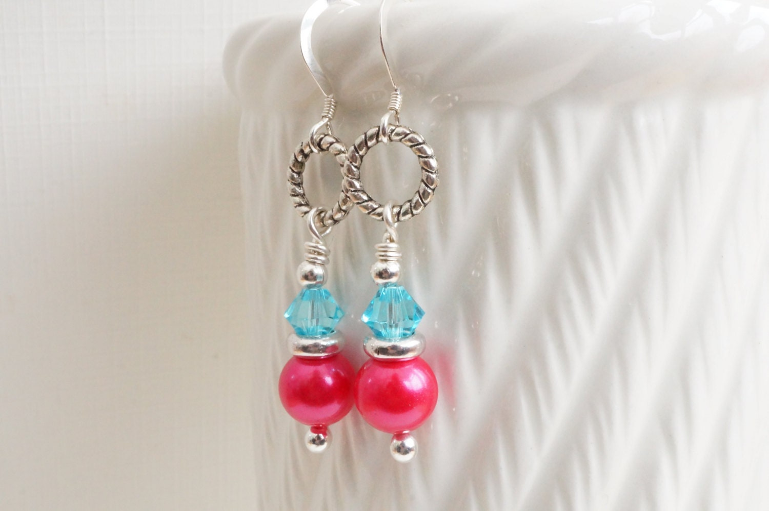 pink and blue earrings shell pearl by jupitermoonjewellery