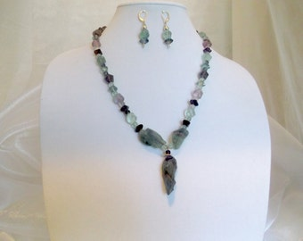Fluorite, Amethyst and Silver 21.5 inch Pendant Necklace and Earrings Set