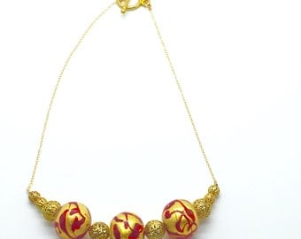 On Fire,Gold Vermeil,Filigree,Murano Glass Beads,Choker Necklace,Red,Gold,Beaded Necklace,Gift for Her,Gift Idea,Italian Glass,Gold Leaf