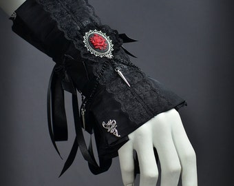 Goth Victorian Cuff with Rose Cameo and spikes - Dark Fashion bracelet, Elegant Goth Wedding Jewelry, Cute Lolita Accessories with spikes