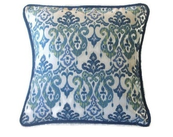 Pillow Cover, Indigo Blue, Ikat Design, Throw Pillow Cover, Decorative Pillow Cover, Indigo Welting, 18 x 18 Inches