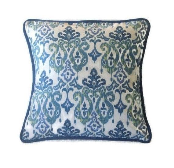 Indigo Blue Throw Pillow : Indigo Blue Ikat Design Throw Pillow Cover Indigo Violet and