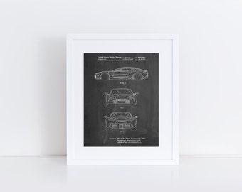 Sports Car Patent Poster, Car Wall Art, Boys Room Wall Decor, Garage Art, PP0711