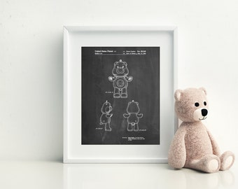 Sunshine Care Bear Patent Poster, Girls Room Decor, Play Room Wall Art, Retro Toys, Toy Art, PP0618