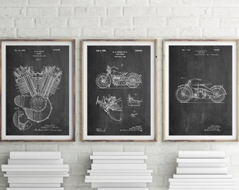Harley Motorcycle Patent Posters Group of 3, Harley Davidson Wall Art, Harley Davidson Poster, Harley Patent, Harley, PP1162
