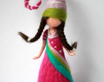 wool felt, waldorf inspired dwarf, needle felt, pink dress, home decor, nursery decor, made to order