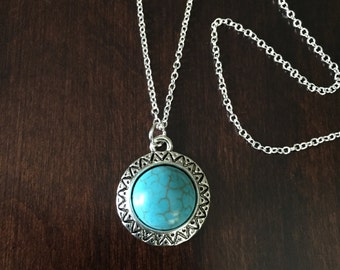 Turquoise Necklace, Turquoise Jewelry, Turquoise Pendant, Turquoise Stone, Turquoise Circle, Silver Necklace, Necklace