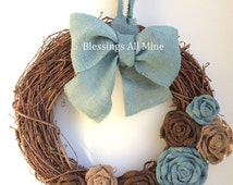 18 inch Grapevine Wreath, Burlap Brown, Neutral, & Turquoise Teal Slate Blue Flowers, Blue Bow/Hanger, Spring Summer Fall Autumn Winter
