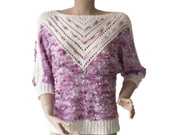 Lilac & White 80s Vintage Knit Sweater Size S M A L L