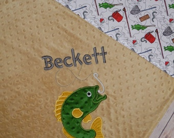Fish Blanket - Minky Baby Blanket with Embroidered Bass Fish