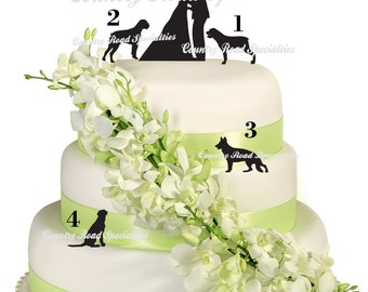Pets With Silhouette Kissing Bride and Groom Wedding Cake Topper  MADE In USA…..Ships from USA