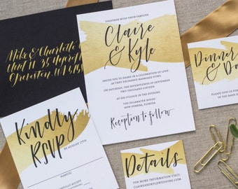 Wedding Invitation Set, Custom Hand Lettering, Faux Gold Foil, Wedding Invitations, Modern Calligraphy, Hand Lettered Invites, Modern Invite