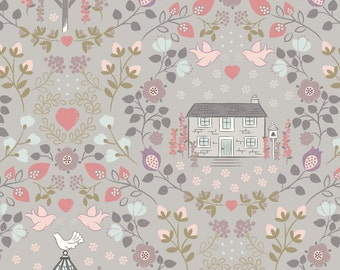 Lewis & Irene Patchwork Quilting Fabric A165.3 - Dove house on warm grey