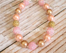 Baby necklace, baby bracelet, pink and gold, baby girl necklace, chunky necklace, girl necklace, infant girl necklace, children necklace