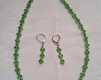 Swarovski Crystal Necklace and Earring Set in Light Green August Peridot Birthstone
