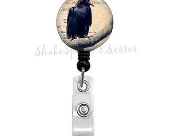 Black Raven, Crow, Primitive Raven, Altered Art, Badge Reel, Retractable Badge, ID Holder