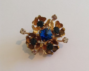 Vintage 1950's 60's Brooch - Blue Rhinestones - Gold Tone Pin - Retro Gift