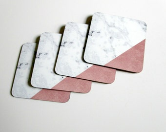 Faux Marble Coaster Set with Rose Gold - Modern Geometric Drink Coasters - Pink and White Table or Bar Decor - Hostess or Housewarming Gift