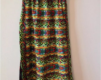 Upcycled Vintage SKIRT M L elastic waist Colorful Ethnic print Maxi 1960s