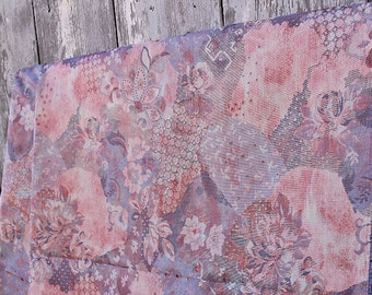 vintage upholstery fabric unused furniture deco fabric home decor woven fabric dusky pink blue curtain fabric diy
