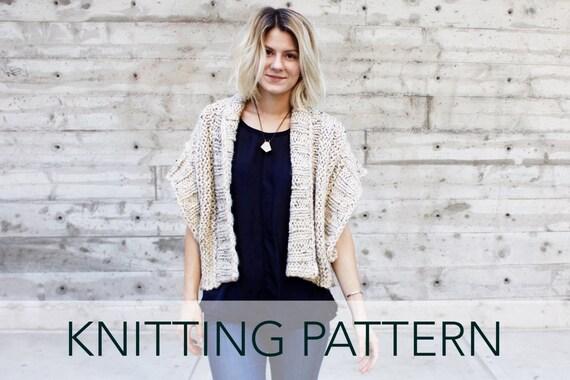 Knitting Pattern // Ribbed Chunky Cardigan Shrug Boho Topper ...