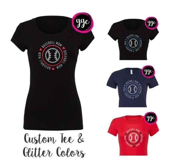 Custom Glitter Baseball Mom T Shirt Customizable