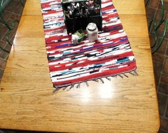 RAG RUG Table Runner-Handmade Rug-Colorful Strips of Material-Just Like Grandma Made-Classic Country Kitchen -Farm Chic-Rag Bag Rug Runner