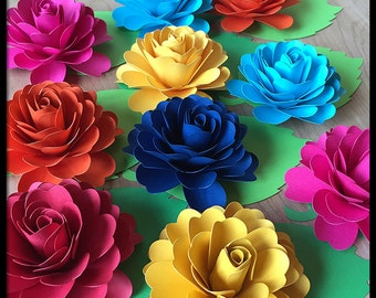 Fiesta Party Decorations - 10 Paper Flowers With Leaves - Place Cards - Quinceanera - Flower Centerpiece - Dia De Los Muertos Decoration