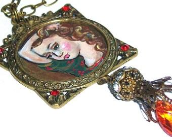 Romantic Necklace Hand Painted Pre Raphaelite Victorian Mucha Jewelry