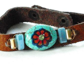 Boho Leather Bracelet Hand Painted Turquoise Hippie Bohemian Jewelry