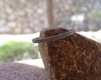Two-toned Macrame, Square Knot Bracelet Purple/Green