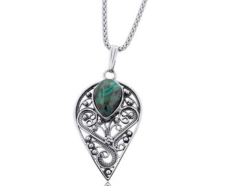 Blue Green Eilat Stone Sterling Silver Filigree Drop Necklace