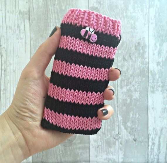 Knitting Patterns For Phone Socks : Pink Knitted Phone Case Bee iPhone Sleeve Mobile by ...