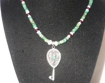 "Flawless Emeralds Garnet ""Key"" Pendant Necklace*******."