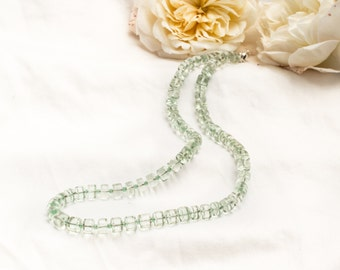 Natural green amethyst necklace with aventurine and sterling silver *Free worldwide shipping*