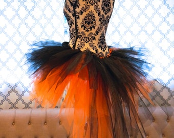 Halloween Tutu - Bustle Tutu - Black and Orange Tutu
