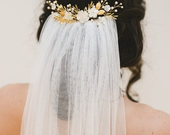 wedding hair comb, bridal headpiece, gold wedding comb, wedding headpiece, bridal hair piece, bridal hair comb - MONNA